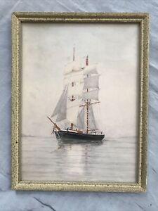 ORIGINAL EDWARDIAN WATERCOLOUR PAINTING A BEAUTIFUL SAILING SHIP