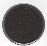 1902 Canada One Cent Coin F-12