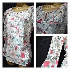 EX PER UNA TOP TUNIC BLOUSE RUFFLE SLEEVE FLORAL IVORY PINK GREEN SIZE 8 - 22
