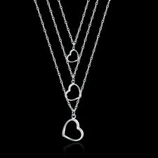 Fashion 925Sterling Solid Silver Jewelry Heart Chain Necklace For Women N038