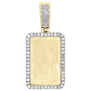 "10K Yellow Gold Round Diamond Memory Picture Frame Pendant 1.65"" Charm 3/4 CT."