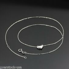 FINE 18K White Gold Necklace Heart Charm pendant O Link Chain Necklace / 1.8g