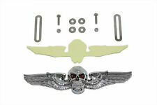 Chrome 3D Skull Wing Emblem License Plate Topper or Flat Surface Harley Davidson