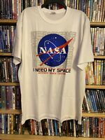 NASA I Need My Space Kennedy Space Center Mens XL White T-Shirt Funny