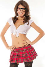 Sexy! SCHOOL GIRL Costume Outfit Red Tartan Schoolgirl Skirt Top Set USA 8049