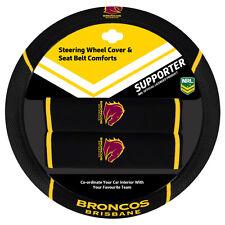 NRL Steering Wheel Cover - Seat Belt Covers - Brisbane Broncos - Universal Fit