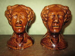 A pair of antique Georgian or Victorian pottery sash window stops 1