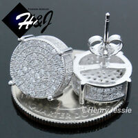 MEN 925 STERLING SILVER 9MM ICY DIAMOND GOLD ROUND SCREW BACK STUD EARRING*GE81