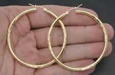 10k Solid Yellow Gold big Large hoop Diamond Cut Earrings 2.35'' 55mm x3MM