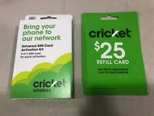 Cricket Wireless $25 Refill Card & Universal 3-in-1 SIM Card Activation Kit NEW