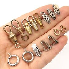 Antique Fashion Lot Of 15 Assorted Bracelet / Necklace Locks And Earring Clips