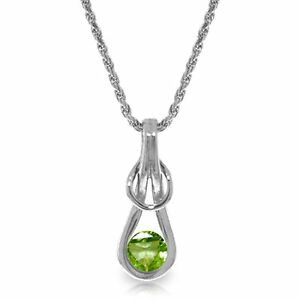 Genuine Peridot Round Gem Bezel Set Solitaire Pendant Necklace in 14K Solid Gold