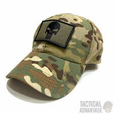 Multicam Baseball Cap Operators Hat Airsoft Camo Camouflage Cap w Punisher Patch