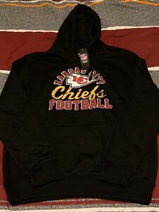 Men's Majestic KANSAS CITY CHIEFS Football Black Hoody Sweatshirt Medium