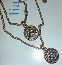 NWT - LIA SOPHIA *SISTERS* NECKLACE - DOUBLE FILIGREE PENDANTS - 2011/$42
