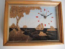 Quadro in sughero con orologio - Cornice in legno - Nuovo
