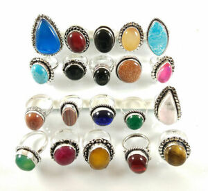 10 Pcs Agate Chalcedony Topaz Ruby Mix 925 Sterling Solid Silver Rings BR-34