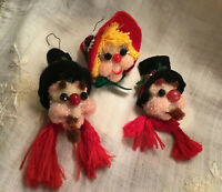 1980's Vintage Handmade Christmas Ornament-SNOWMEN&LADY Heads Clay Sculpture-#S3