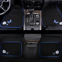 Universal Car Floor Mats Blue Black Butterfly Anti-slip For Honda Toyota Suv Van