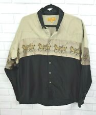 Scorpio L Black Green Horse Western Pearl Snap Button Western Shirt