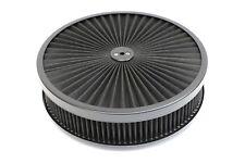 "14"" X 3"" Round Black High Flow Thru Washable Air Cleaner Drop Base Lid SBC 350"