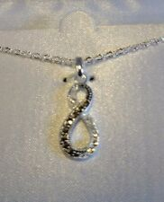 Figure '8' Silver Plated Necklace New Genuine Marcasite Black & White