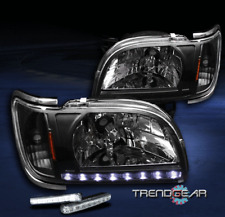 2001-2004 TOYOTA TACOMA PICKUP LED BLACK CRYSTAL HEAD LIGHT+BUMPER DRL 2002 2003