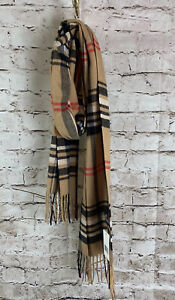 Plaid Burberry look Mens Scarf tan black red 68x12