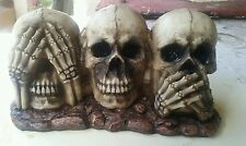 LATEX ONLY MOLD  for plaster or concrete  skull see no evil set ready to ship