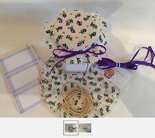 12 x  fabric jam pot covers  MACHINE CUT includes bands/labels/ribbon large 14cm