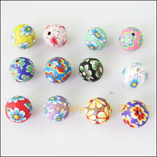 8Pcs Mixed Polymer Fimo Clay Round Flower Crystal Spacer Beads Charms 12mm