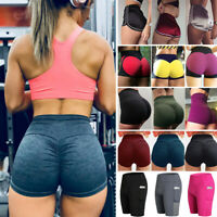 Hot Womens Push Up Yoga Shorts Pants Running Fitness Sports Strech Trousers NJ86