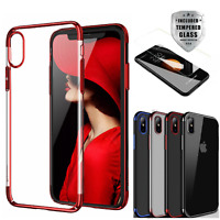 For Apple iPhone XS Max/XR/X TransparentClearPC+TPUBumperCase+Tempered Glass