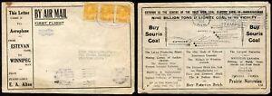 *p194 - FIRST FLIGHT Cover ESTEVAN-WINNIPEG 1924. Coal ILLUSTRATED Advertising