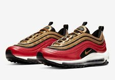 Nike Air Max 97 Red Metallic Gold Sequin Shoes CT1148 600 Womens Size 7 Running