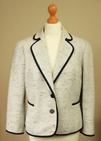 Hobbs Lara Size UK 14 Cotton Mix Flattering Tailored Jacket Blazer Ivory Black