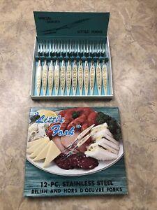 "Vintage ""Little Fork"" 12 Pc Stainless Steel Relish Hors D'oeuvre Forks Japan"
