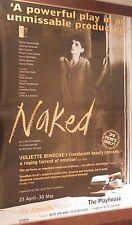"40x60"" HUGE SUBWAY POSTER~Naked Play 1998 Juliette Binoche Almeida T London NOS~"