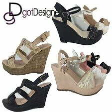 Women's Fashion High Heel Wedge Cork Sandal Platform Open Toe Strappy New Pumps