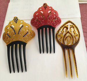 3 Antique Celluloid Hair Comb With Rhinestones Red Etc