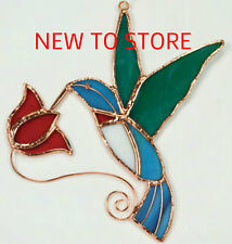 Stained Glass Sun catcher -Hummingbird with Red Flower Sun Catcher- Ge137