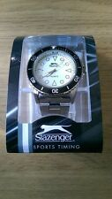 Slazenger Sports Timing Men's White Face Wrist Watch with Steel Strap