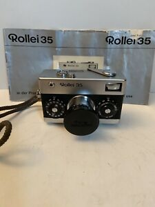 Vintage Mini Camera Rollei 35 Germany Zeiss Tessar 40mm 1:3.5f Lens Manual No R!
