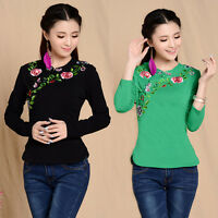 New Chinese Style Women Embroidery Cotton Long Sleeve Tops T-shirt Blouse Floral