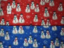 Christmas, holiday, winter snowman 100% cotton fabric