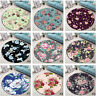 Beautiful Flowers Round Soft Carpet Area Rug Living Room Porch Floor Beach Mat
