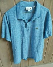 Lacoste Light Blue Linen Cotton Blend Polo Shirt Sz FR 6 US XL
