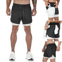 Summer Men Running Shorts Sports Fitness Quick Dry Gym Phone Pocket Fit 28-43in