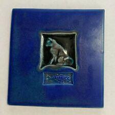 2006 Michael Cohen Cat & Fish Cobalt Blue Wall Tile or Trivet 5 ¾�