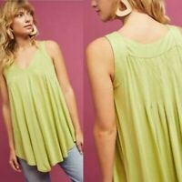 NEW ANTHROPOLOGIE MEADOW RUE Pleated Swing Tank Green Sleeveless Blouse Medium